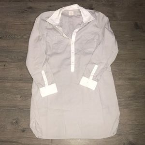 Gap Long Sleeve Dress Shirt Dress, Grey/White